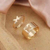 Carved Butterfly Gold Plated Fashion Rings Pair - Golden