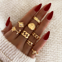 Eight Pieces Gold Plated Romantic Cute Fashion Rings Set - Golden
