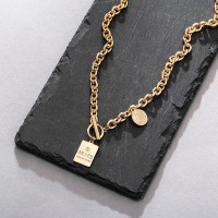 Gold Plated Hook Closure Women Fashion Necklace - Golden