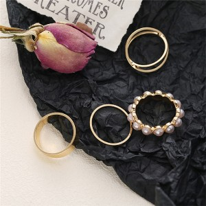 Pearl Decorative Gold Plated Four Pieces Rings Set