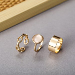 Three Pieces Gold Plated Rhinestone Rings Set - Golden
