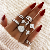 Silver Plated Eight Pieces Fashion Rings Set - Silver