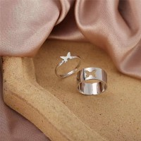 Carved Butterfly Silver Plated Fashion Rings Pair - Silver