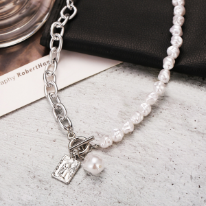 Pearl Decorative Silver Plated Hook Closure Necklace - Silver