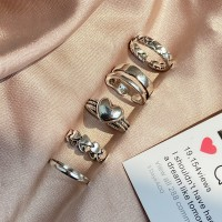 Silver Plated Five Pieces High Quality Fashion Rings Set - Silver