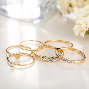 Crystal Gold Plated Six Pieces Rings Set - Golden