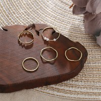 Gold Plated Five Pieces Vintage Fashion Rings Set - Golden