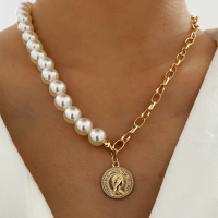 Pearl Decorative Gold Plated Hook Closure Necklace - Golden