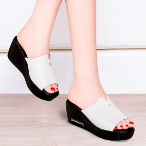 Crystal Patched Thick Bottom Heel Fancy Sandals - White