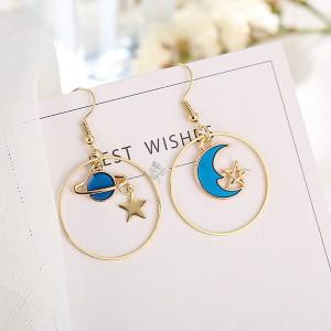 Gold Plated Fancy Multi Shaped Moon Earrings Pair - Golden
