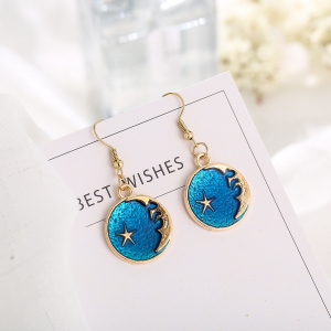 Earth Stars Gold Plated Fashion Earrings Pair - Golden