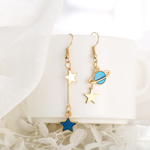 Planet Stars Gold Plated Fashion Earrings Pair - Golden