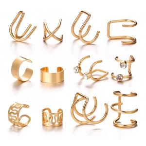 Twelve Pieces Crystal Vintage Design Rings Set - Golden