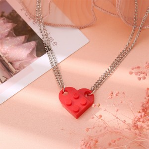 Brick Heart Silver Plated Pendant Chain Necklace - Red