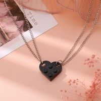 Brick Heart Silver Plated Pendant Chain Necklace - Black