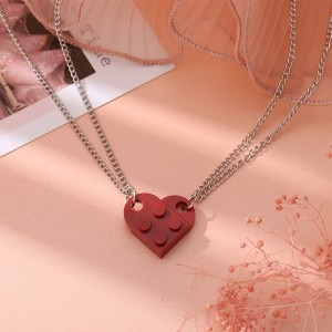 Brick Heart Silver Plated Pendant Chain Necklace - Wine Red