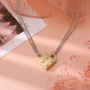 Brick Heart Silver Plated Pendant Chain Necklace - Yellow