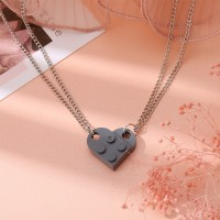 Brick Heart Silver Plated Pendant Chain Necklace - Gray