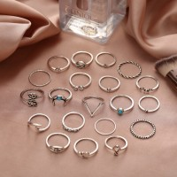 Silver Plated Carved Rhinestones Patched Rings Set - Silver