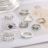 Silver Plated Carved Bohemian Style Ten Pieces Rings Set - Silver