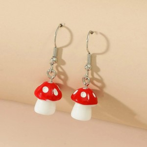 Mushrooms Patched Silver Plated Earrings Pair - Silver