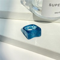 Carved Plastic High Quality Women Fashion Rings - Blue