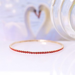 Crystals Patched Extendable Women Fashion Bracelet - Red