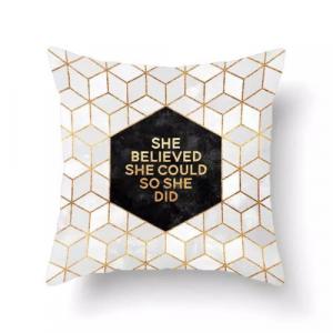 1 Piece Geometric with Slogan Design Decorative Cushion Cover