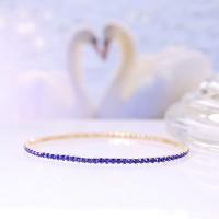 Crystals Patched Extendable Women Fashion Bracelet - Blue