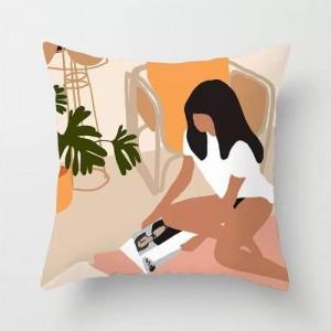 Boho Style Cushion Cover Girl Reading Book