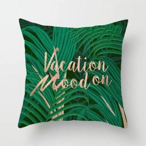 Vacation Mood On Cushion Cover Green Color