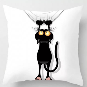 1 Piece Black Cat Design Decorative Cushion Cover