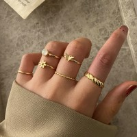 Six Pieces Rhinestone Six Pieces Rings Set - Golden