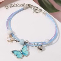 Butterfly Patched Hooked Closure Bohemian Bracelet - Light Blue