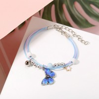 Butterfly Patched Hooked Closure Bohemian Bracelet - Blue