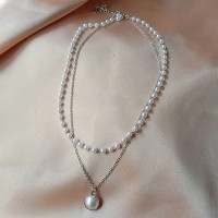 Pearl Decorative Hooked Closure Silver Plated Necklace - Silver