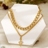 Silver Plated Braided Chain Hooked Closure Necklace - Golden