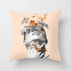 Fancy Girl With Butterfly Design Cushion Cover