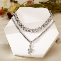 Silver Plated Braided Chain Hooked Closure Necklace - Silver