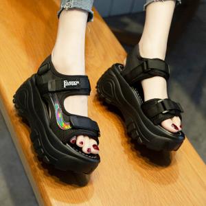 Thick Sole Platform Velcro Closure Casual Wear Sandals - Black