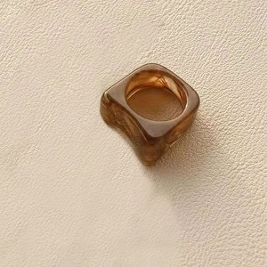 Marble Texture Carved Vintage Fashion Rings - Brown