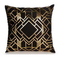 1 Piece Black and Gold Print Decorative Cushion Cover