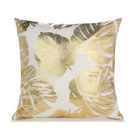 Foil Gold Spring Leaves Cushion Cover