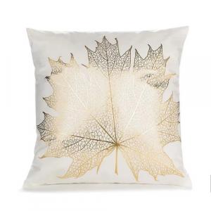 Foil Gold Wine Leaf Cushion Cover