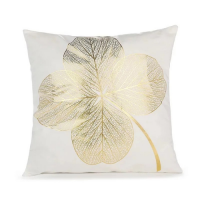 Foil Gold Lucky Leaf Cushion Cover