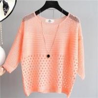 Hollow Half Sleeved Summer Wear Outwear Top - Orange