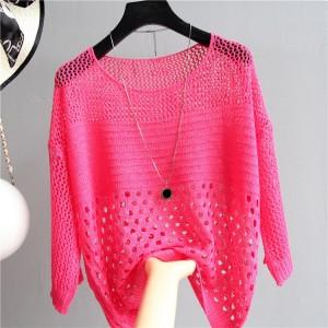 Hollow Half Sleeve Summer Wear Outwear Top - Hot Pink