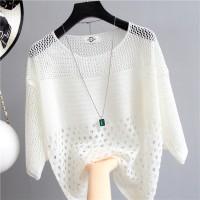 Hollow Half Sleeve Summer Wear Outwear Top - White