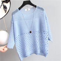 Hollow Half Sleeve Summer Wear Outwear Top - Blue