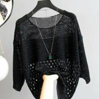 Hollow Half Sleeve Summer Wear Outwear Top - Black
